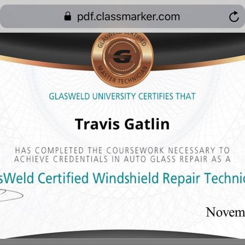 glasweld certified windshield repair technician